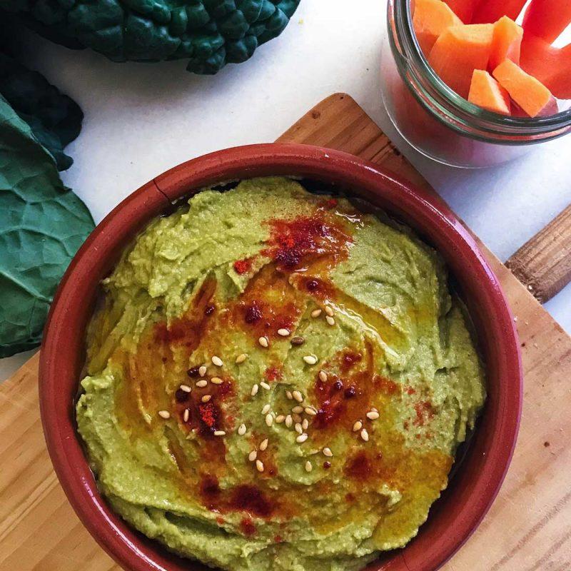 Hummus de col kale receta Come Vive Viaja