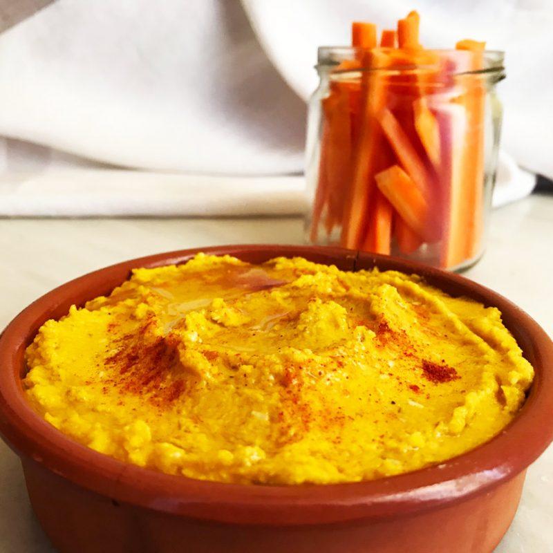 HUMMUS DE ZANAHORIA, DIFERENTE, SALUDABLE, RICO, snack saludable