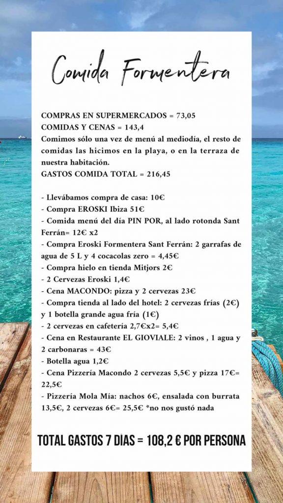 Comer barato en Formentera e Ibiza es posible Gastos comida presupuesto Low Cost