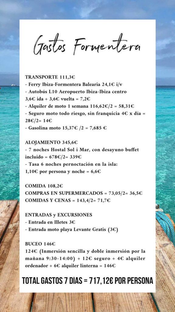 Formentera Low Cost, barato, presupuesto, gastos. Blog Viajes Come Vive Viaja