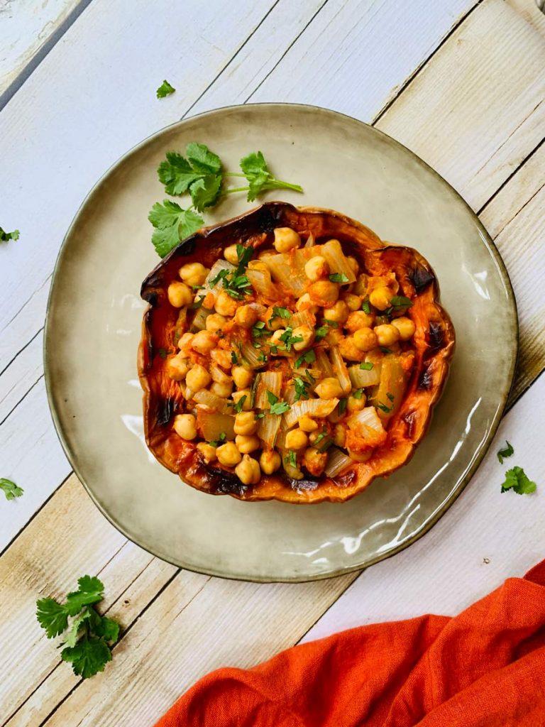 garbanzos con calabaza y pencas, verduras, pimentón, receta rápida 15 minutos