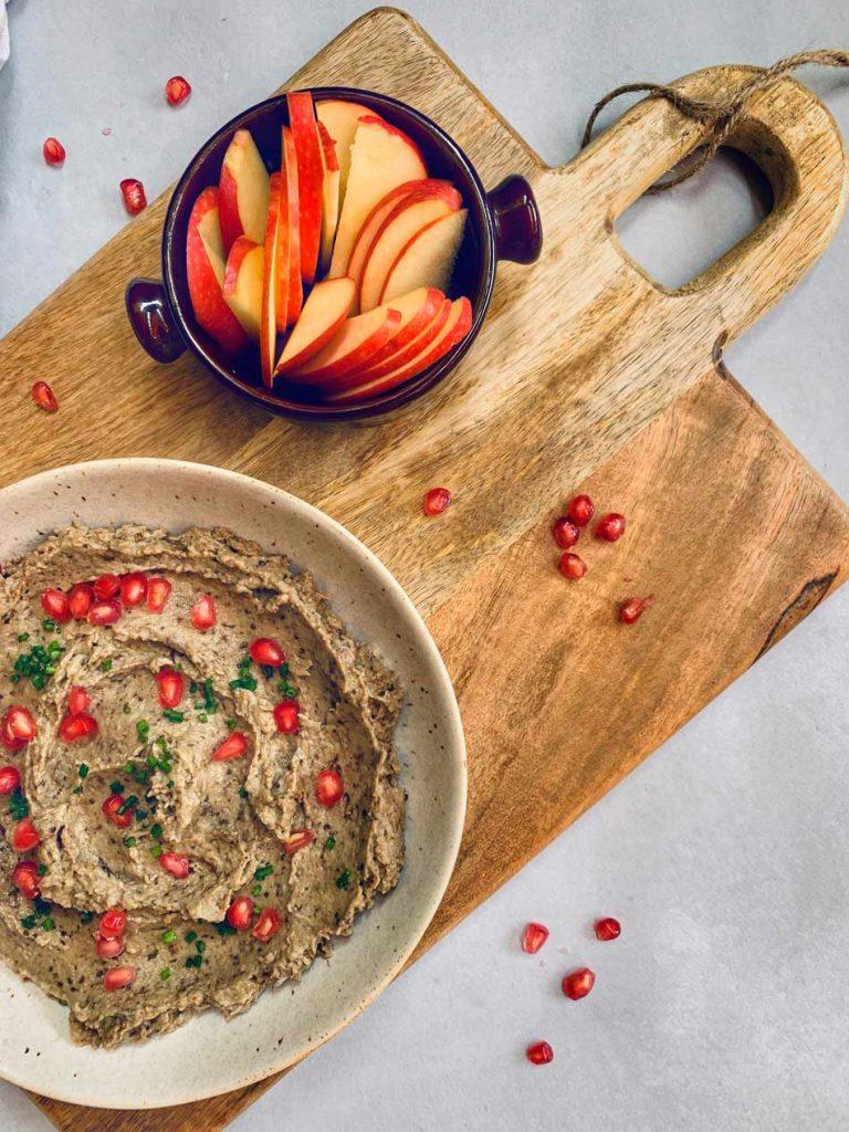 paté vegetal vegano griego de berenjena cremoso fresco con yogur sin lactosa
