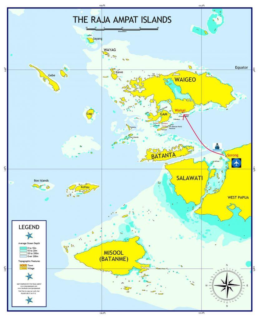 Raja Ampat mapa cómo llegar y viajar por libre