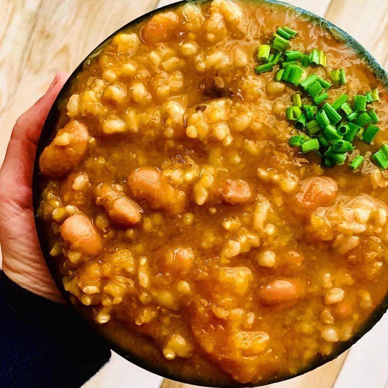 Potaje de alubias, calabaza y arroz. Sencillo y rico