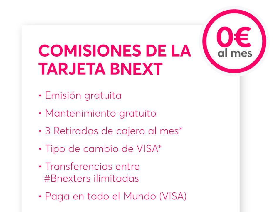 Comisiones tarjeta Bnext 0€ GRATIS
