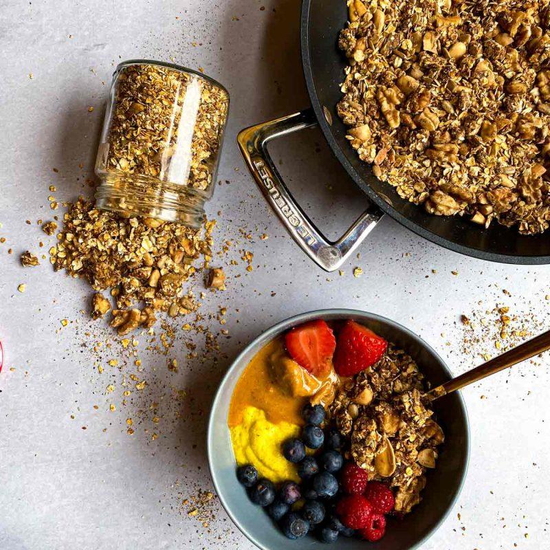 Cómo hacer Granola sin horno, rápida, 15 minutos, fácil, en sartén o en olla, cacerola, Come Vive Viaja