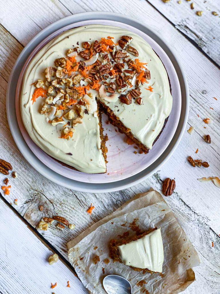 Carrot Cake con frosting cremoso de anacardos sin lácteos